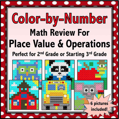 Back to School Color-by-Number - 2nd/3rd Grade - Games 4 Gains  - 1