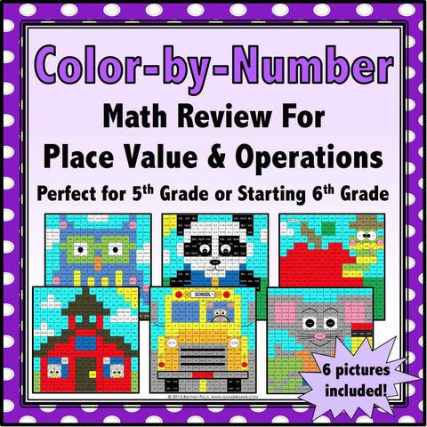 Back to School Color-by-Number - 5th/6th Grade - Games 4 Gains  - 1