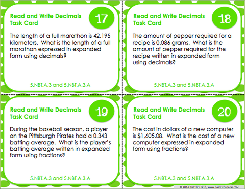 Decimals Task Cards Games 4 Gains
