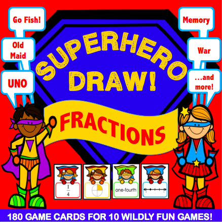 Fractions 'Superhero Draw' Game - Games 4 Gains  - 1