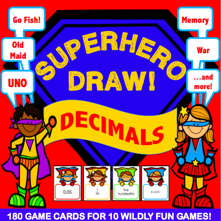 Decimals 'Superhero Draw' Game - Games 4 Gains  - 1