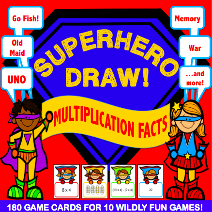 Multiplication 'Superhero Draw' Game - Games 4 Gains  - 1