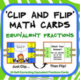 Equivalent Fractions 'Clip and Flip' Cards - Games 4 Gains  - 1