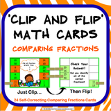 Comparing Fractions 'Clip and Flip' Cards - Games 4 Gains  - 1