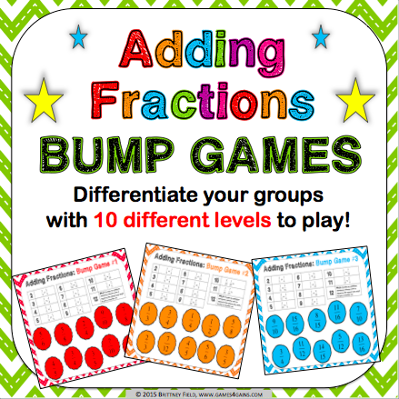 Adding Fractions Bump Games - Games 4 Gains  - 1