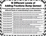 Adding Fractions Bump Games - Games 4 Gains  - 2