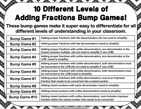 Adding Fractions Bump Games