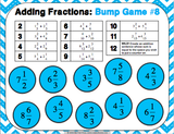 Adding Fractions Bump Games - Games 4 Gains  - 4