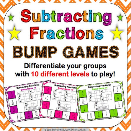 Subtracting Fractions Bump Games - Games 4 Gains  - 1