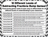 Subtracting Fractions Bump Games - Games 4 Gains  - 2