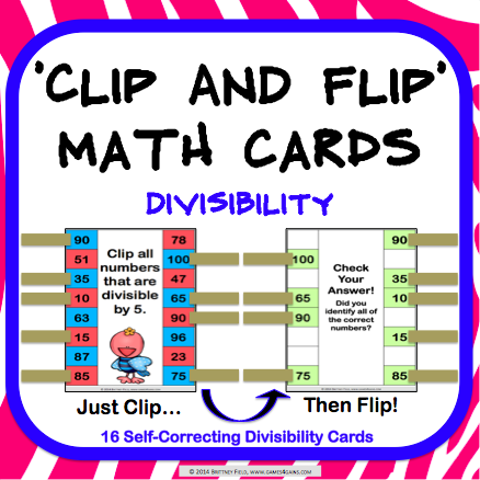 Divisibility 'Clip and Flip' Cards - Games 4 Gains  - 1