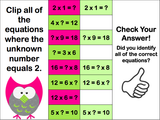Multiplication Finding the Unknown 'Clip and Flip' Cards - Games 4 Gains  - 2