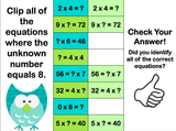 Multiplication Finding the Unknown 'Clip and Flip' Cards - Games 4 Gains  - 3