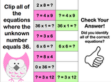 Multiplication Finding the Unknown 'Clip and Flip' Cards - Games 4 Gains  - 4