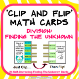 Division Finding the Unknown 'Clip and Flip' Cards - Games 4 Gains  - 1