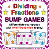 Dividing Fractions Bump Games - Games 4 Gains  - 1