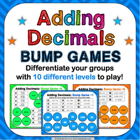 Adding Decimals Bump Games - Games 4 Gains  - 1