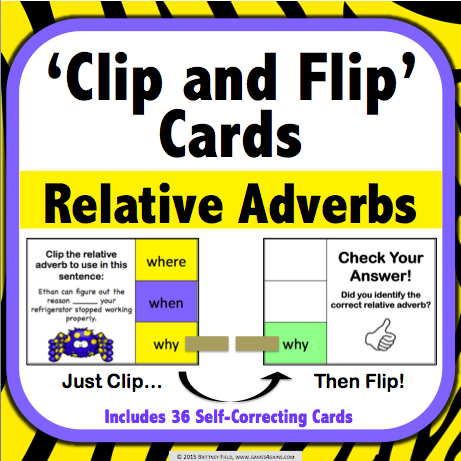 Relative Adverbs 'Clip and Flip' Cards - Games 4 Gains  - 1