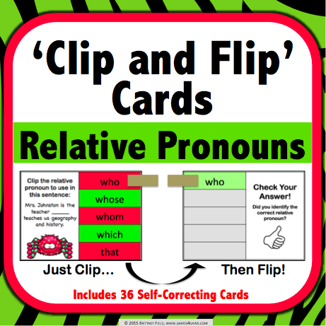 Relative Pronouns 'Clip and Flip' Cards - Games 4 Gains  - 1