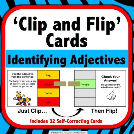 Identifying Adjectives 'Clip and Flip' Cards - Games 4 Gains  - 1