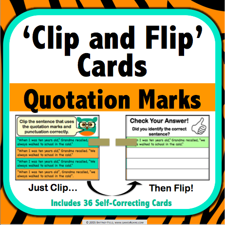 Quotation Marks 'Clip and Flip' Cards - Games 4 Gains  - 1