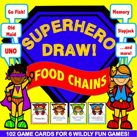 Food Chains and Food Webs 'Superhero Draw' Game - Games 4 Gains  - 1