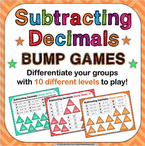 Subtracting Decimals Bump Games - Games 4 Gains  - 1