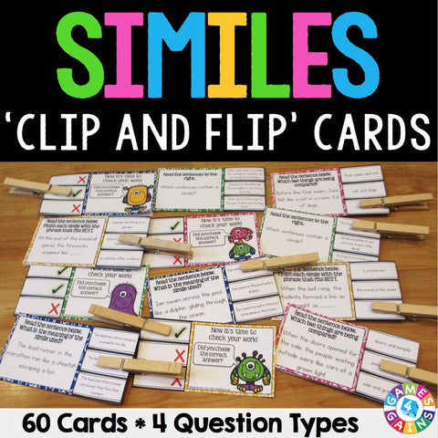 Similes 'Clip and Flip' Cards - Games 4 Gains  - 1