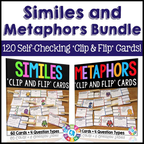 Similes and Metaphors 'Clip and Flip' Cards Bundle - Games 4 Gains