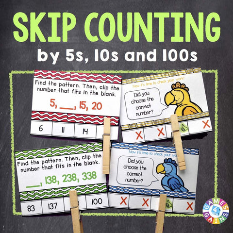 Skip Counting 'Clip and Flip' Cards - Games 4 Gains  - 1