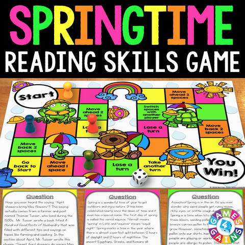 Spring Reading Comprehension Board Game - Games 4 Gains  - 1