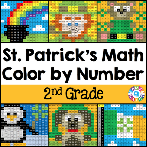 St. Patrick's Day Math Color-by-Number - 2nd Grade - Games 4 Gains  - 1