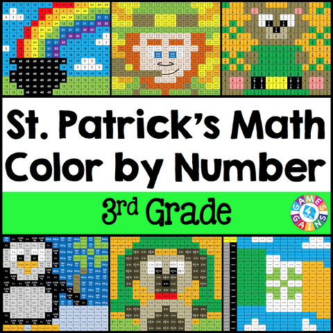 St. Patrick's Day Math Color-by-Number - 3rd Grade - Games 4 Gains  - 1