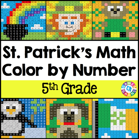 St. Patrick's Day Math Color-by-Number - 5th Grade - Games 4 Gains  - 1