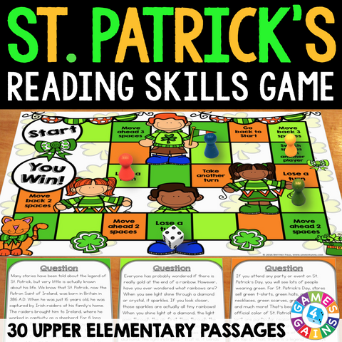St. Patrick's Day Reading Comprehension Board Game - Games 4 Gains  - 1