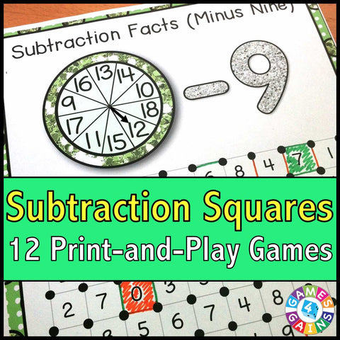 Subtraction 'Squares' Game - Games 4 Gains  - 1