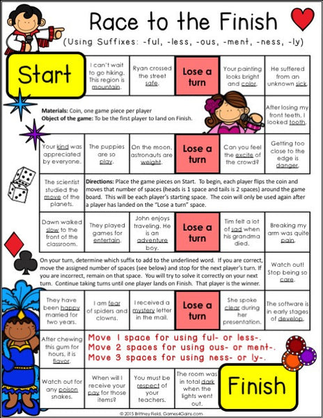 Lively image within prefixes and suffixes printable games