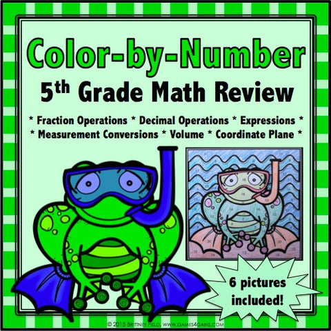 color by number math review for 5th grade games 4 gains 1