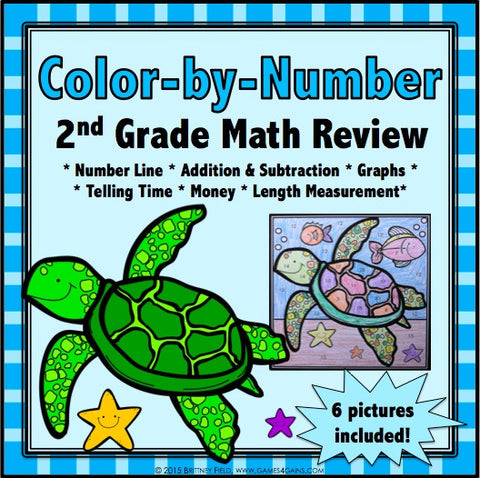 Color-by-Number Math Review for 2nd Grade - Games 4 Gains  - 1