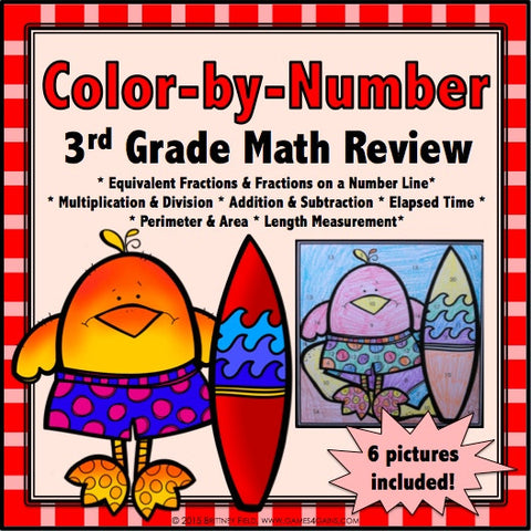 Color-by-Number Math Review for 3rd Grade - Games 4 Gains  - 1