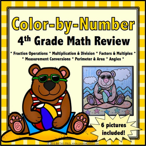 Color-by-Number Math Review for 4th Grade - Games 4 Gains  - 1