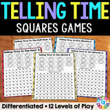 "Telling Time ""Squares"" Game - Games 4 Gains  - 1"