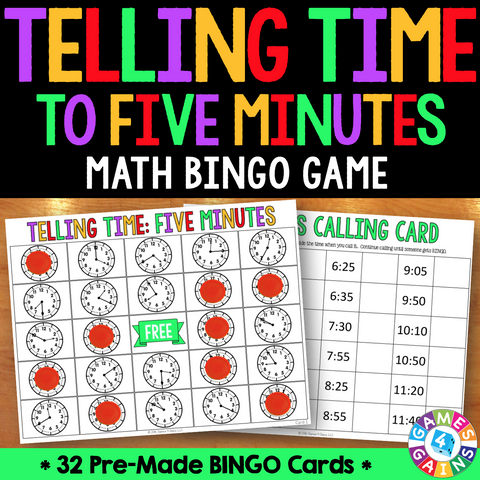 Telling Time to Five Minutes Bingo Game - Games 4 Gains  - 1