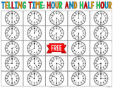 Telling Time to the Hour and Half Hour Bingo Game - Games 4 Gains  - 3