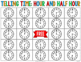 Telling Time to the Hour and Half Hour Bingo Game - Games 4 Gains  - 4