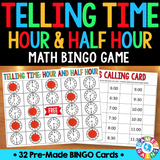 Telling Time to the Hour and Half Hour Bingo Game - Games 4 Gains  - 1