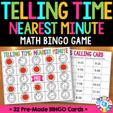 Telling Time to the Nearest Minute Bingo Game - Games 4 Gains  - 1