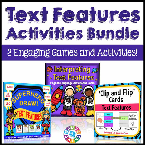 Text Features Games and Activities Bundle - Games 4 Gains