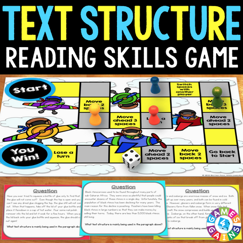 Text Structures Board Game - Games 4 Gains  - 1