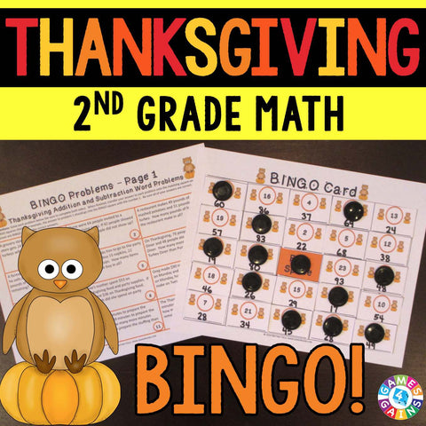 Thanksgiving Math Bingo Game - 2nd Grade - Games 4 Gains  - 1
